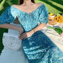 【預購】法式微復古 高級感藍綠色收腰長洋裝(S~XL)