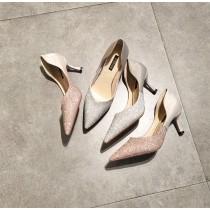 【預購】法式質感側挖空亮片高跟鞋~2色
