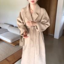 【預購】微法式.西裝翻領綁帶毛呢長大衣~2色