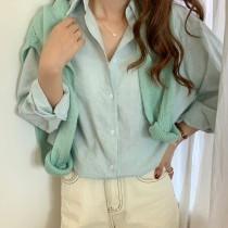 【預購】歐膩日常.文藝風 細條紋襯衫+針織披肩套裝~3色(上衣&披肩需分開購買)