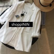 【預購】質感緞面.夏天可穿 涼爽高級感 七分袖西裝外套~2色(S~XL)