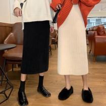 【預購】衣櫃必備款!秋冬感彈力針織開衩半身裙~4色(3種長度)