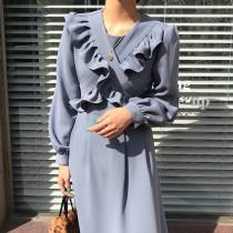【預購】韓款姊姊風荷葉交叉長洋裝~2色