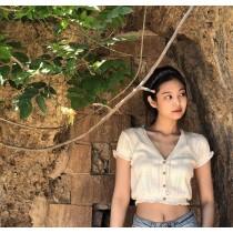 【預購】Jennie同款.縷空針織荷葉邊短袖短版上衣