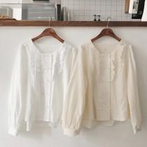 【預購】韓款復古小方領襯衫上衣~2色