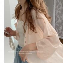 【預購】法式淺橘粉.質感微透膚襯衫上衣