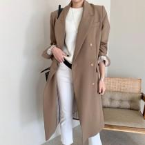 【預購】知性女子專用.英倫風長版西裝外套風衣外套~2色