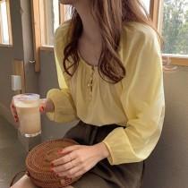 【預購】法式優雅風薄款長袖襯衫上衣~2色