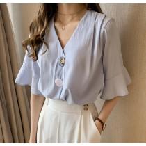 【預購】法式設計款荷葉袖襯衫上衣~3色(M~4XL)