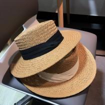 【預購】度假必備!法式織帶草編平頂禮帽/草帽~3色