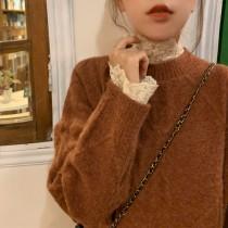 【預購】內搭儀式感.高領蕾絲內搭衣+咖啡色毛衣套裝(兩件需分開購買)
