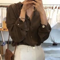【預購】率性文藝風.純色薄款長袖防曬襯衫上衣~2色