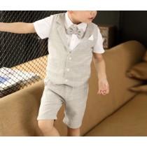 【預購】韓風小花童直條紋西裝套裝四件組~3色