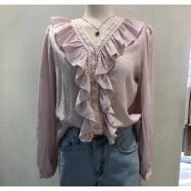 【韓製.預購】0311-氣質歐膩荷葉襯衫上衣~2色