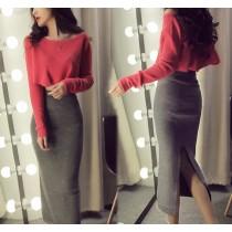 【現貨】性感也可以很簡單!紅色系短版上衣+開衩長包裙套裝(西紅色L號)