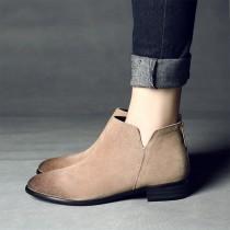 【現貨】真皮英倫風手工擦色踝靴(卡其色40號)