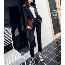 【現貨】韓風率性感西裝外套+長褲套裝(黑色S)