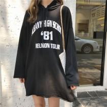 【現貨】一件出門!超級實穿的帽t洋裝(黑色)