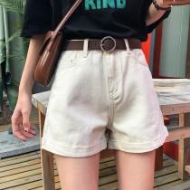 【預購】夏季復古簡約杏色牛仔捲邊短褲