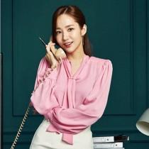 【預購】金秘書朴敏英同款粉色雪紡襯衫(S~XL)