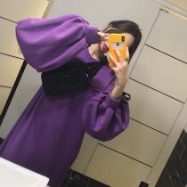 【現貨】One piece系列.慵懶風燈籠袖衛衣長洋裝(紫色S)