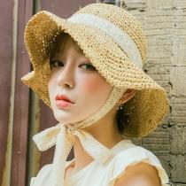 【預購】日系文藝甜美風蕾絲綁帶藤編防曬草帽~4色
