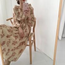 【預購】文藝風荷葉邊碎花收腰雪紡長洋裝~3色