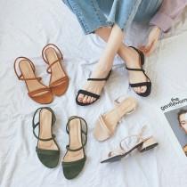 【預購】韓風一字帶簡約羅馬低跟涼鞋~4色