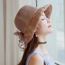 【預購】日系網紗蝴蝶結棉麻遮陽沙灘帽~6色