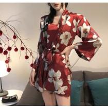 【預購】日式復古微性感玉蘭花家居服睡衣兩件組~2色