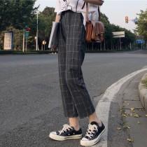 【預購】日系休閒風鬆緊腰大格紋哈倫褲