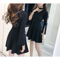 【預購】韓風名媛.掛脖式收腰顯瘦小洋裝~2色