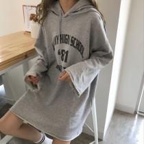 【現貨】一件出門!超級實穿的帽t洋裝(灰色)