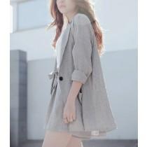 【預購】日系棉麻薄款西裝套裝外套+短褲
