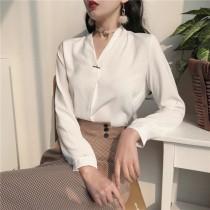 【預購】歐美風簡約V領飾扣雪紡襯衫上衣~2色