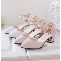 【預購】日韓甜美款粗跟中跟一字帶包頭涼鞋~2色