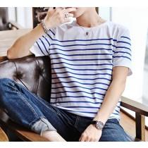 【預購】清爽型男條紋短袖棉TEE~2色