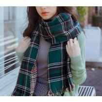 【預購】格紋千鳥格兩面流蘇大圍巾~3色