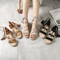 【預購】波希米亞風真皮綁帶羅馬涼鞋~3色