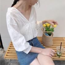 【預購】法式V領縷空花邊襯衫