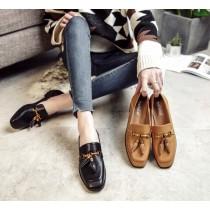【現貨】35~43號!足碼女鞋系列 ♥ 英倫風低調奢華流蘇樂福鞋小皮鞋(黑色40號)