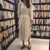 【預購】韓IG  慵懶風素色綁帶雪紡長洋裝~3色