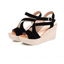 【預購】日韓風簡約交叉繫帶楔型坡跟涼鞋~3色