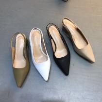 【預購】歐膩的鞋櫃.韓國原單尖頭粗跟套腳涼鞋~4色