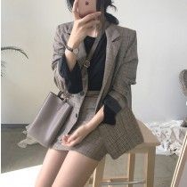 【預購】英倫復古風格紋西裝外套+高腰短裙兩件套裝組~2色