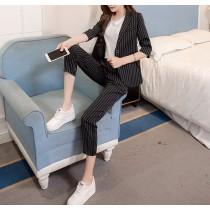 【預購】春夏薄款小香風直條紋西裝外套+九分褲套裝~3色