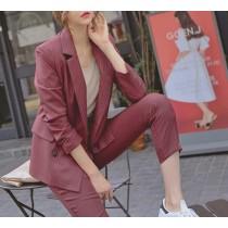 【預購】英倫風雙排扣率性西裝外套+長褲套裝~4色