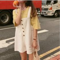 【預購】日系俏皮學院風牛仔吊帶短寬褲~3色