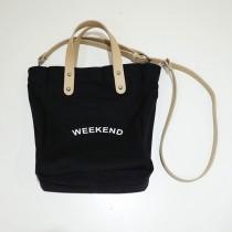 【現貨】韓IG weekend百搭帆布手提側背包(黑色)