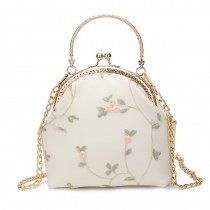 【預購】輕奢感刺繡花朵鍊條手提兩用口金包貝殼包